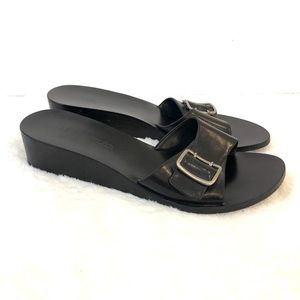 Ann Taylor Black Leather Slide Wedge Sandals 7.5
